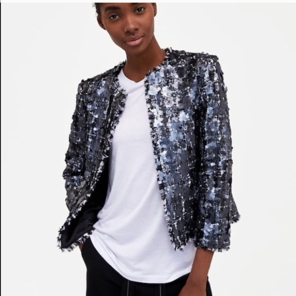 6dc6dd26 Zara Jackets & Coats | New Blazer Jacket Sequin Tweed Sz Large L ...